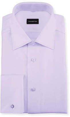 Ermenegildo Zegna Twill Cotton French-Cuff Dress Shirt, Lavender (Purple)