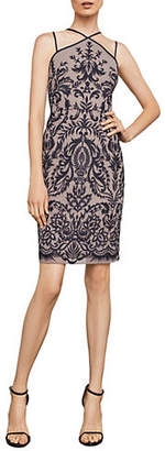BCBGMAXAZRIA Spaghetti-Strap Embroidered Halter Sheath Dress