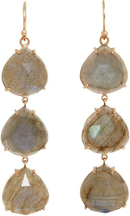 Irene Neuwirth Women's Gemstone Triple-Drop Earrings-Colorless