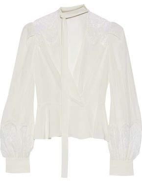 Murad Zuhair Chantilly Lace-Trimmed Silk Crepe De Chine Wrap Blouse