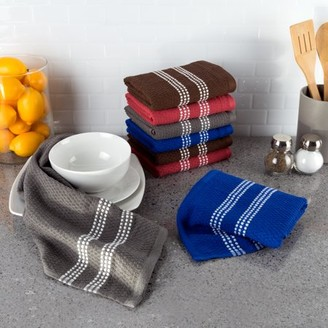 Somerset Home, 8 Pack, Cotton Dish Cloths, Absorbent Popcorn Terry Weave, Assorted Colors