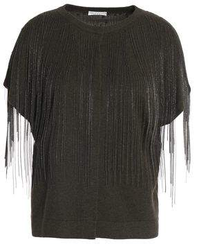 Brunello Cucinelli Fringed Bead-embellished Cashmere Top