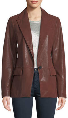 Neiman Marcus Leather Collection Soft Suede One-Button Blazer