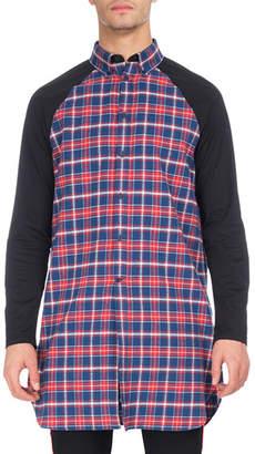 Givenchy Long Plaid Raglan-Sleeve Shirt