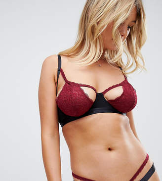 Wolfwhistle Wolf & Whistle cut out lace bra in berry