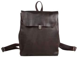 EAZO - Minimalist Genuine Leather Backpack In Dark Brown