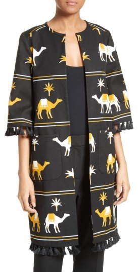 Kate Spade Women's Kate Spade New York Tassel Trim Camel Print Coat