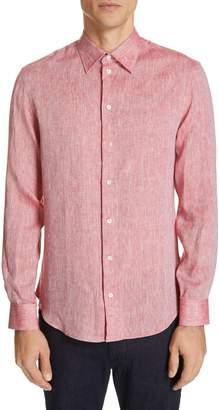 Emporio Armani Trim Fit Linen Dress Shirt