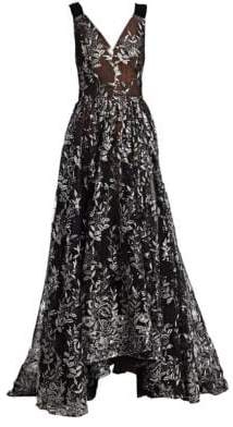 David Meister Sequin Floral Ball Gown