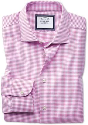 Charles Tyrwhitt Slim Fit Semi-Spread Collar Business Casual Non-Iron Modern Textures Pink and White Spot Cotton Dress Shirt Single Cuff Size 15/34