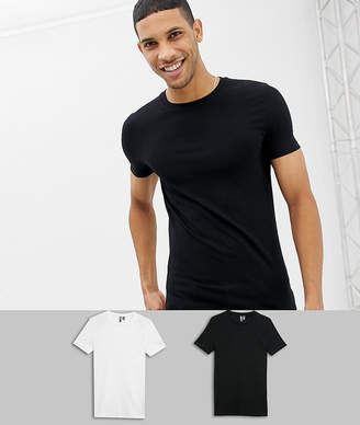 Asos Design DESIGN muscle fit crew neck t-shirt with stretch 2 pack multipack saving