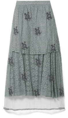 Stella McCartney Embroidered Tulle-paneled Corded Lace Midi Skirt - Gray