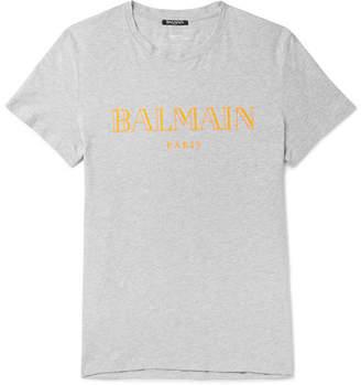 Balmain Slim-Fit Logo-Print Mélange Cotton-Jersey T-Shirt