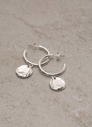Mint Velvet Silver Drop Disc Hoop Earrings