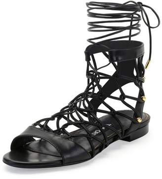 fe75ea82302 Tom Ford Leather Chain-Link Lace-Up Gladiator Sandals Shoes US 8 IT 38