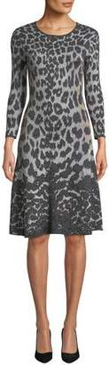 Naeem Khan NK32 Flare Scoop-Neck 3/4-Sleeve Knee-Length Animal-Printed Dress