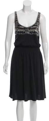 Tory Burch Sleeveless Embellished Midi Dress