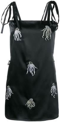 ATTICO satin mini dress with jellyfish appliqué