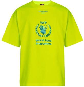 Balenciaga Logo Print Cotton Jersey T Shirt - Mens - Yellow