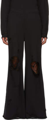 Alexander Wang Black Distressed Wide-Leg Lounge Pants