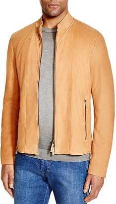 Armani Collezioni Slim Fit Lamb Leather Jacket $2,895 thestylecure.com