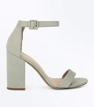 New Look Mint Green Suedette Barely There Block Heels