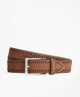 Brooks Brothers 1818 Perforated Stitch Suede Belt