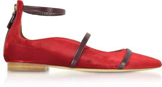 Malone Souliers By Roy Luwolt Robyn Flat Red Velvet and Burgundy Nappa Ballerinas
