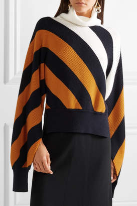 Monse Striped Wool Turtleneck Sweater - Camel