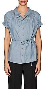 Yohji Yamamoto Regulation Women's Linen-Cotton Chambray Blouse - Blue