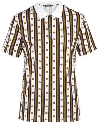 Versace Medusa Striped Cotton Polo Shirt - Mens - White Multi