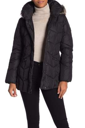 Larry Levine Quilted Faux Fur Hood Coat
