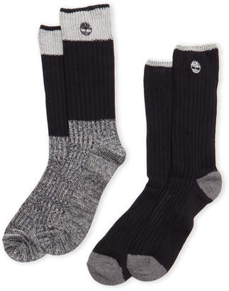 Timberland Two-Pack Marled Trim Boot Socks
