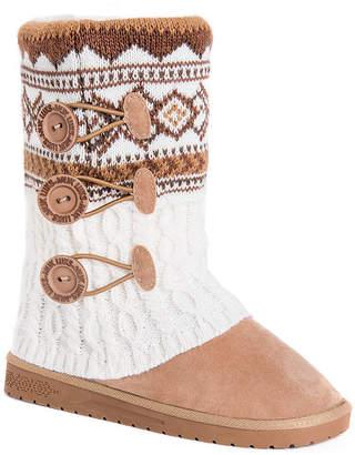 Muk Luks Womens Cheryl Booties Pull-on Flat Heel