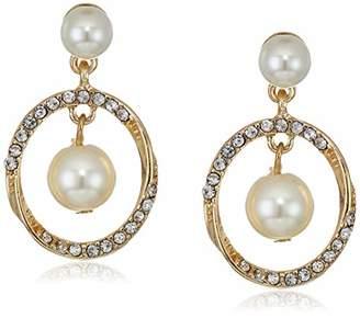 Anne Klein Women's Gold//Crystal Halo Twist Orbital Drop Earrings