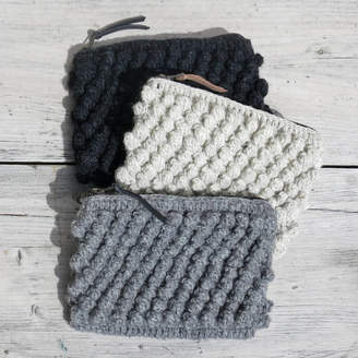Aura Que Fair Trade Knit Wool Crochet Bobble Clutch Zip Purse