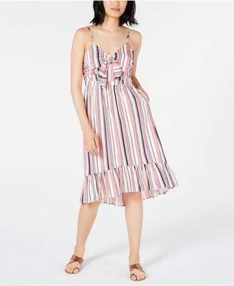 Maison Jules Striped Ruffle-Hem Dress