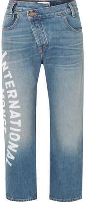 Monse Cropped Printed Mid-rise Straight-leg Jeans - Mid denim