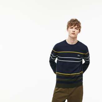 Lacoste Men's Crew Neck Multicolor Striped Milano Cotton Sweater