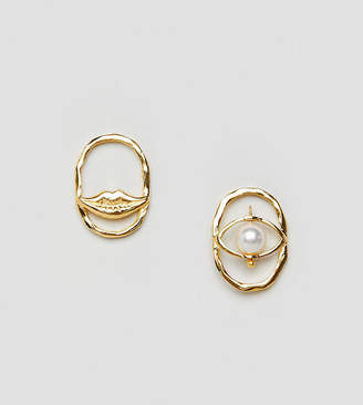 Asos Design DESIGN gold plated sterling silver earrings with pearl and lip detail