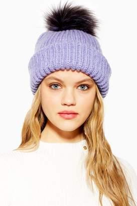 75582908d13 Topshop Womens Knit Faux Fur Pom Pom Beanie