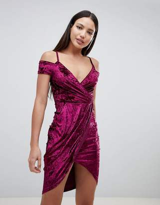 AX Paris Wrap Front Velvet Dress
