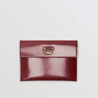 Burberry D-ring Patent Leather Pouch with Zip Coin Case, Red
