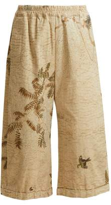 BEIGE By Walid - Hazy Jungle Print Cotton Canvas Wide Leg Trousers - Womens Print