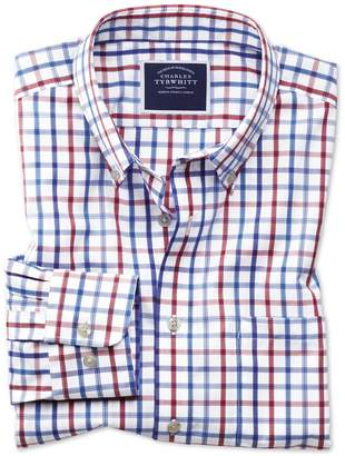 Charles Tyrwhitt Slim Fit Button-Down Non-Iron Poplin Red Multi Check Cotton Casual Shirt Single Cuff Size XS