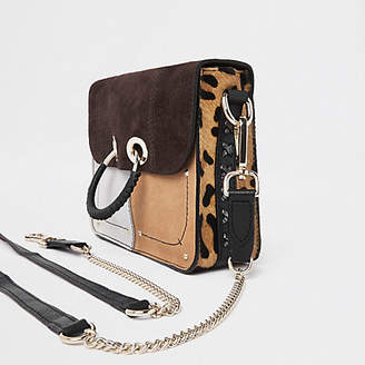 River Island Brown leather cutabout panel cross body bag
