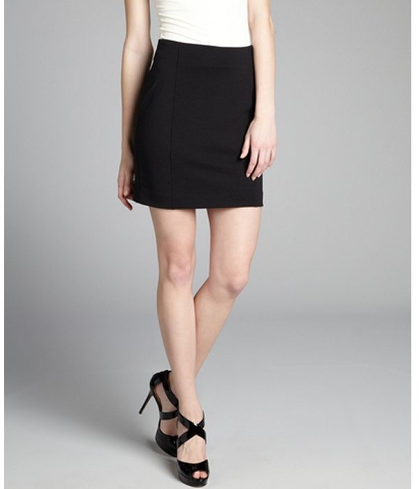 Rebecca Taylor black jersey knit exposed zip mini skirt