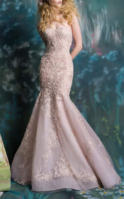 Isa Belle Isabelle Armstrong Zoe Embroidered Mermaid Gown