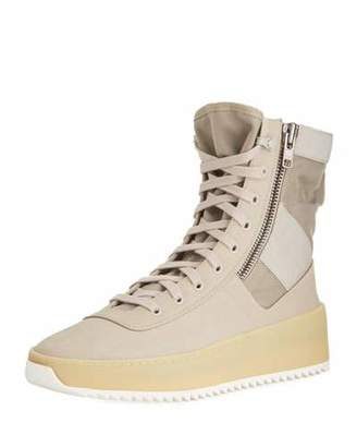 Fear Of God Men's Leather High-Top Military Sneakers, Beige