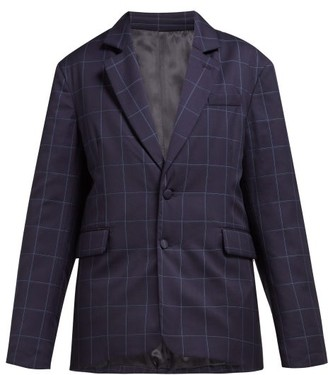 Martine Rose Big Check Padded Wool Blazer - Womens - Navy